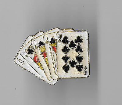 Vintage Royal Straight Flush in Clubs Poker Hand old enamel pin