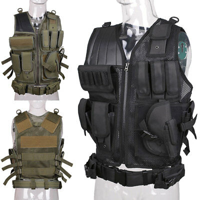 Tactical Military Combat Vest Paintball Airsoft Army Molle CS Hunting Assault AU
