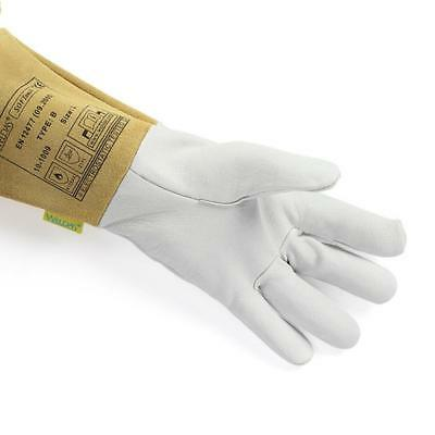 Pair HEAVY DUTY Welding Gauntlet Heat Resistant Leather Safety Gloves White