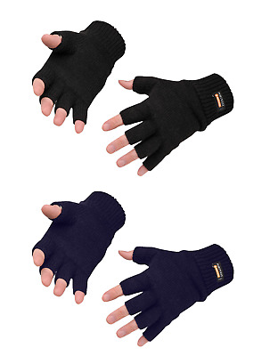 Portwest GL14 Knit Fingerless Thermal Gloves One Size - Black or Navy