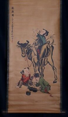 Vintage Long Rare Old Chinese Scroll Hand Painting Mark ChenYunZhang KK611