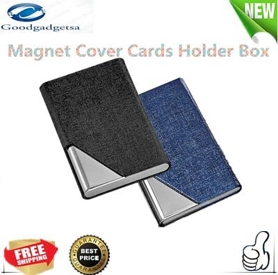 Magnet Cover Cards Holder Stainless Steel Oracle Grain PU Card Holder Box W0
