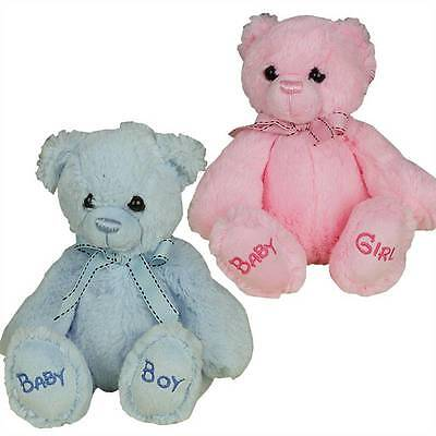 Baby Boy Girl Soft Toy Teddy Bear in Pink or Blue Newborn Gift Present