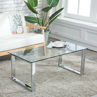 MODERN GLASS Stainless Steel Coffee Table Side End Table Living - Rectangular glass side table