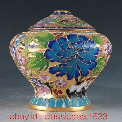 Antique Chinese Cloisonne Enamel Gilt Handwork Flower Pot PA1123