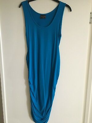 Pea In A Pod Blue/Cyan Rouched Sides Pencil Dress Size 10 EUC