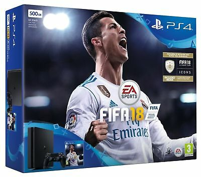 NUOVO  PS 4 500GB Slim Bundle PS4 FIFA 18 Ultimate Team Icons Rare Player Pack