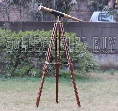 Black Leather Wooden Stand Sailor Boat Antique Telescope - Maritime Gift Item