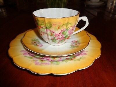 Very Old Un Named Extremely Pretty Yellow With Christmas Rose And Berry Trio