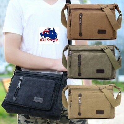 Retro Men's Canvas Messenger Shoulder Bag Travel Satchel Crossbody Laptop Bag AU