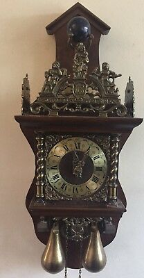 Dutch Zaandam Decorative Mahogany Case 2 Weights Driven Striking Wall Clock GWO