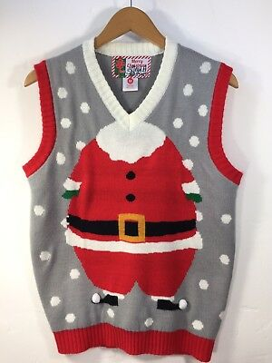 Ugly Christmas Sweater Vest Santa Clause Size M