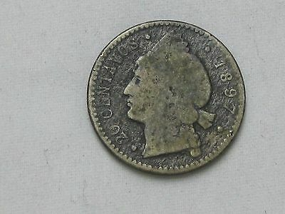 1897 DOMINICAN 20 CENTAVOS SILVER Dominicana (Rear first year of production) C35