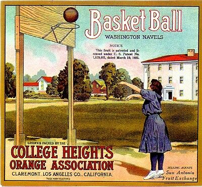 Claremont College Heights Basketball #1 Orange Citrus Fruit Crate Label Print