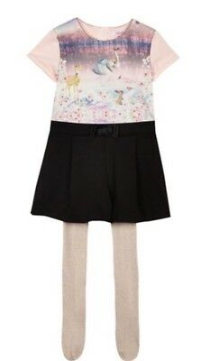 New Pink/black Girls Ted Baker Playsuit Age 8-9