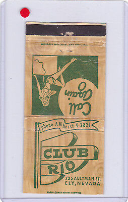 Club Rio Casino 1940's Matchcover Ely Nevada (Rare) In Phone Book
