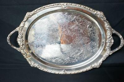 """Vintage Ornate Silver Plate Footed Serving Tray with Handles 21"""" x 13"""""""