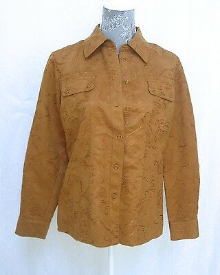 Chicos Tan Shirt Blouse Jacket Wrinkle Free Long Sleeves Sz 1 Fits Small 8-10