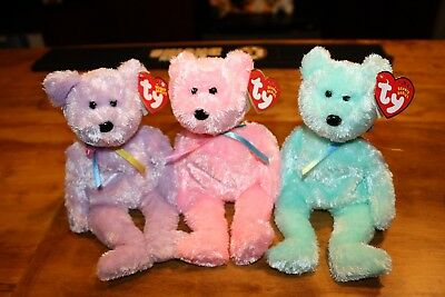 TY Beanie Babies - SHERBET Bears Set of 6 - Yellow, Pink,Aqua,Teal,Lavender,Rose