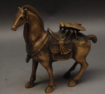 Chinese Copper Fengshui Fine Carved cicada Horse Animal Statue Sculpture