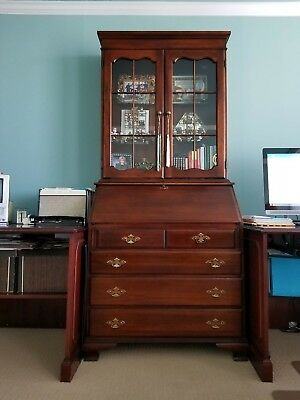 Superior Solid Cherry Secretary Desk With Lighted Bookcase / Hutch