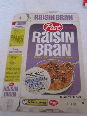 1977 Post Raisin Bran Cereal Box Old Vintage Baseball Offer