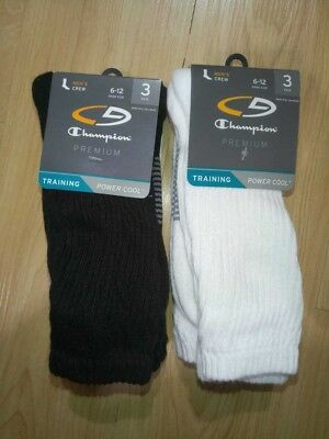 C9 Champion Mens Crew Training Socks Power Cool White 3 or 6 Pair Size 6 - 12