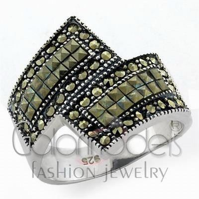 A2236 Black Color Natural Marcasite 925 Sterling Silver Antique Tone Ring