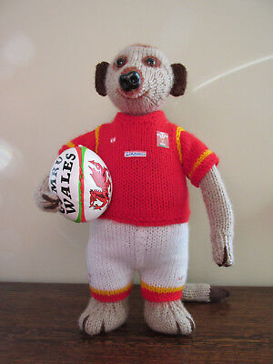 Hand Knitted Meerkat - Welsh Rugby Player ( Mascot)