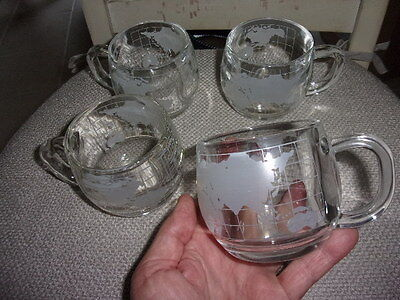 4 HEAVY 1970's NESTLES CLEAR & ETCHED GLASS GLOBE WORLD MAP COCOA MUGS OR CUPS