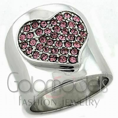 A234 Rose Pink Simulated Diamond 925 Sterling Silver 14K White Gold Plated Ring
