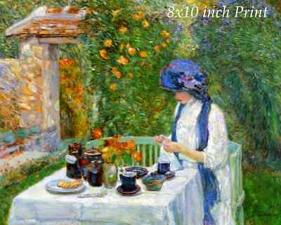 The French Tea Garden by Childe Hassam Art Lady Table Afternoon 8x10 Print 0900
