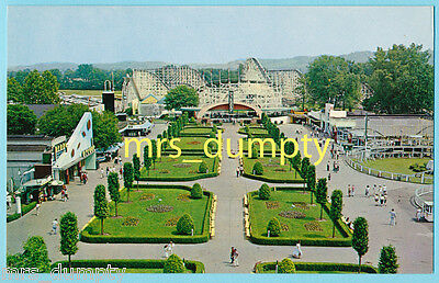 OH CONEY ISLAND~Long View of Mall~WILDCAT Roller Coaster OHIO Chrome POSTCARD #2