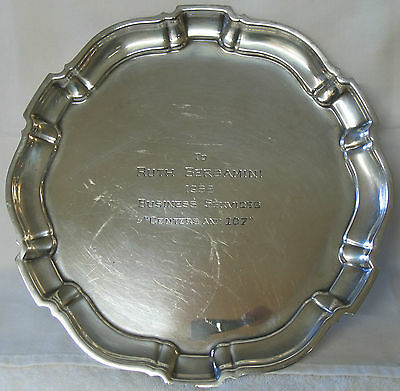 """Vintage Poole """"Chippendale"""" Sterling Silver Award Plate - 1962"""