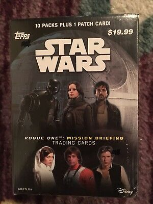 2016 Topps ⭐️Star Wars⭐️Rogue One: Mission Briefing 10 Pack Box + 1 Patch Card⭐️