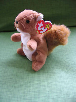 "Ty Beanie Babies  Squirrel Named Nuts 1996 Tag  7"" Tall"