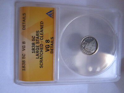 1838 P Liberty Seated Silver Half 1/2 Dime Large Stars ANACS VG8 Details