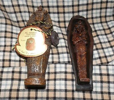 AL-ASEEL Egyptian Sarcophagus w/ Mummy - Resin Compound - With Tag & Medallion