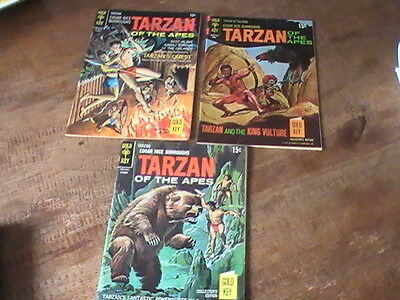Tarzan of the Apes #180,188,199, lot of 3 Gold Key comics, 1960's