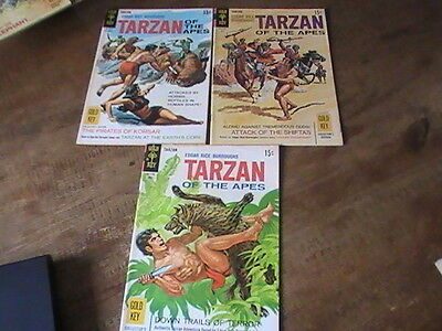 Tarzan of the Apes #181,183,185, lot of 3 Gold Key comics, 1960's