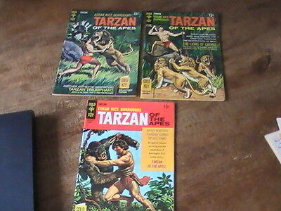 Tarzan of the Apes #178,184,187, lot of 3 Gold Key comics, 1960's