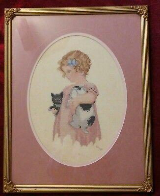 "Vintage Bessie Pease Gutmann Framed ""Friendly Enemies"" Cross Stitch"