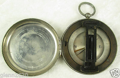 Pocket Compass Integral Sight Nickel Plate Brass Case Hinge French Vintage c1930