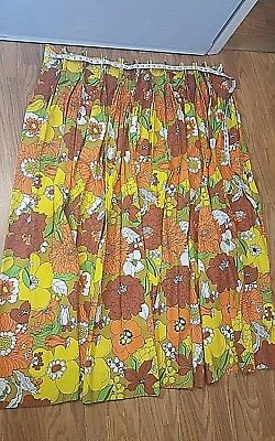 Vintage pair pinch pleat 60's 70's Curtains Drape Floral Fabric NEW
