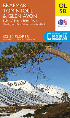 BRAEMAR, TOMINTOUL Map - OL 58 - OS - Ordnance Survey - INC. MOBILE DOWNLOAD