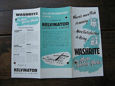 Kelvinator Washrite Washing Machine Pamphlet
