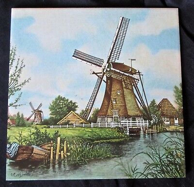 "vintage 1984 Ter Steege Holland ceramic tile highly detailed windmill scene 6""sq"