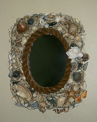 "Large Antique Vintage Victorian Sea Shell Mirror Maritime Sailor Folk Art 21"" H"