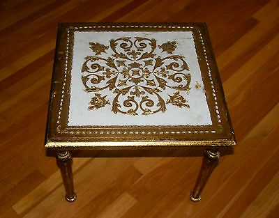 """Large Square Vintage Italian Florentine Gold White Carved Wood Tole Table 20"""" W"""