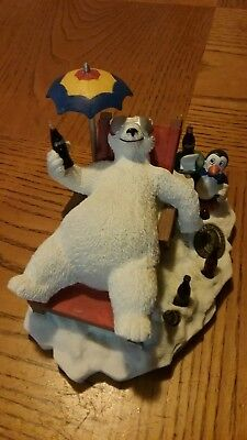 1996 coca cola authorized heritage collection figure polar bear in beach...